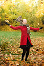 Autumn portret of happy beautiful girl Royalty Free Stock Image