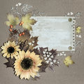 Autumn postcard flowers and leaves arranged around textured paper tinted image space Stock Photography