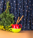 Autumn provincial still life with a simple bouquet flowers. Royalty Free Stock Photo