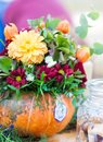Autumn pumpkin floral arrangement Royalty Free Stock Photo