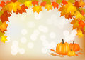 Autumn pumpkin holiday postcard fall is a great time of the year a lot of fruits and vegetable Stock Photography