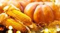 Autumn pumpkins and corn. Harvest