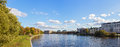 Autumn quay landscape in the central park of sankt peterburg panorama Stock Images