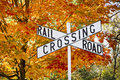 Autumn Railroad Crossing Sign Royalty Free Stock Photo