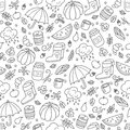 Autumn and rain. Seamless pattern in doodle and cartoon style.
