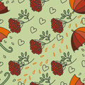 Autumn rainy pattern with umbrellas, kalina, leaves and hearts. Royalty Free Stock Photo