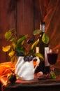 Autumn Red Wine Setting Stock Photo