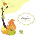 Autumn retro background with tree, pumpkins Royalty Free Stock Photo