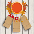Autumn ring foliage wood price stickers Image stock