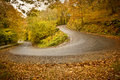 Autumn roads a winding road in brilliant colours Royalty Free Stock Photo