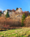 Autumn rocks at tupa skala slovakia vertical view of natural rocky monument this locality is part of vysnokubinske skalky rocky Royalty Free Stock Image