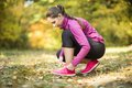 Autumn runner woman running in leaves training exercise Stock Photography