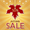 Autumn sale background with maple leaf and rays autumnal poster hanging paper inscription fall discount Stock Photos