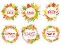 Autumn sale badges. Fall season sales, autumnal yellow leaves frame and september discount banners vector set