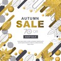 Autumn sale banner. Frame with 3d style gold outline fall leaves and motion geometric shapes. Vector poster background. Royalty Free Stock Photo