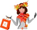 Autumn sale beautiful smiling girl with leaves Royalty Free Stock Photos