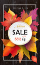 Autumn Sale Fall leafs, wooden texture Royalty Free Stock Photo