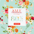 Autumn Sale Floral Banner. Fall Discount Background with Lily and Orchid Flowers