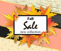 Autumn sale flyer template with lettering, orange leaves on modern abstract background. Fall promotion. Poster, banner