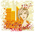 Autumn sale girl banner illustration Royalty Free Stock Photo