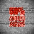 50% Autumn Sale. Graffiti on a brick wall. Vector Illustration