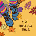Autumn sale illustration with girls feet in boots colorful striped tights and Royalty Free Stock Photo
