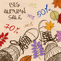 Autumn sale illustration with girls feet in boots and leaves Royalty Free Stock Image