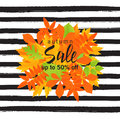 Autumn sale poster with fall leaves on striped background. Vector illustration for website and mobile website banners