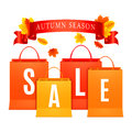 Autumn sale shopping bags Royaltyfria Foton