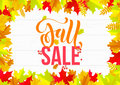 Autumn sale shopping discount vector poster fall maple leaf gold web banner