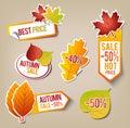 Autumn sale stickers Fotografía de archivo libre de regalías