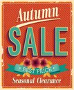 Autumn sale vintage card vector illustration Stock Photography