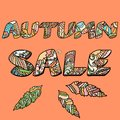 Autumn sale words with hand drawn elements seasonal design Royalty Free Stock Photography