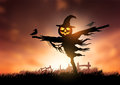 Autumn scarecrow a halloween with a jack o lantern head Stock Photos