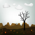 Autumn scenery landscape tree silhouette on abstract stylish Stock Photos