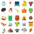 Autumn, school icon set. Cartoon and flat style. White background. Vector illustration. Royalty Free Stock Photo