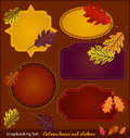 Autumn scrapbook stickers set of and leaves for scrapbooking Royalty Free Stock Photos