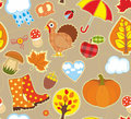 Autumn seamless background bright with symbols of Royalty Free Stock Photography
