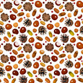Autumn seamless background with various nuts pattern chestnuts acorns cones hazelnuts and rowanberries on a white Royalty Free Stock Photos