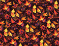 Autumn seamless pattern with birds and leaves Stock Photos
