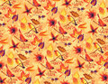 Autumn seamless pattern with birds and leaves Royalty Free Stock Photos