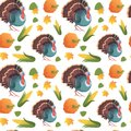 Autumn Seamless Pattern Happy Thanksgiving Day Concept Traditional Holiday Ornament With Turkey