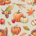 Autumn seamless pattern with harvest illustrations Royalty Free Stock Image