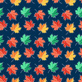 Autumn seamless pattern with maple leaves. Vector background.