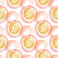 Autumn seamless pattern with orange circle textures. Hand drawn fashion hipster background. Vector for web, print, fabric, textile Royalty Free Stock Photo