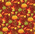 Autumn seamless pattern with pumpkin and leaves Royalty Free Stock Image