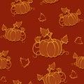 Autumn seamless pattern with pumpkin Royalty Free Stock Photo