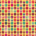 Autumn Seamless Pattern with Red Green Purple Leaves Stock Photos