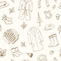 Autumn seamless pattern Set with oak leaves, shoes, clothing and umbrellas.