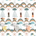Autumn seamless pattern. Tribal vector backround with rainy clouds, rainbows, girls, rainy clouds, suns, trees, and